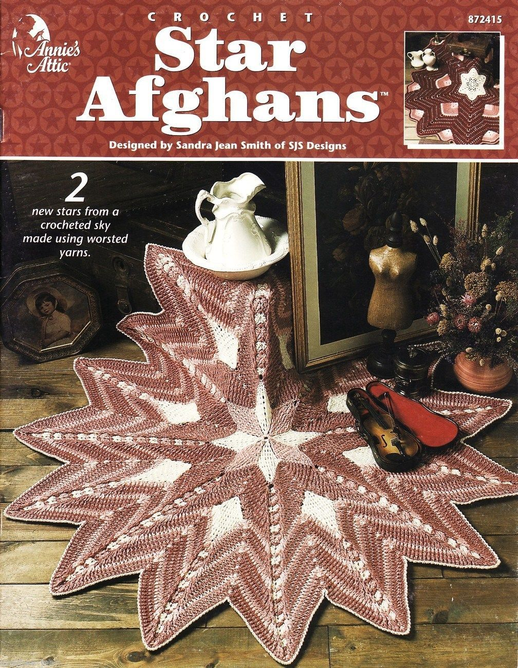 Star Afghans: Annie's Attic Crochet pattern book, 2 beautiful styles.  RARE HTF