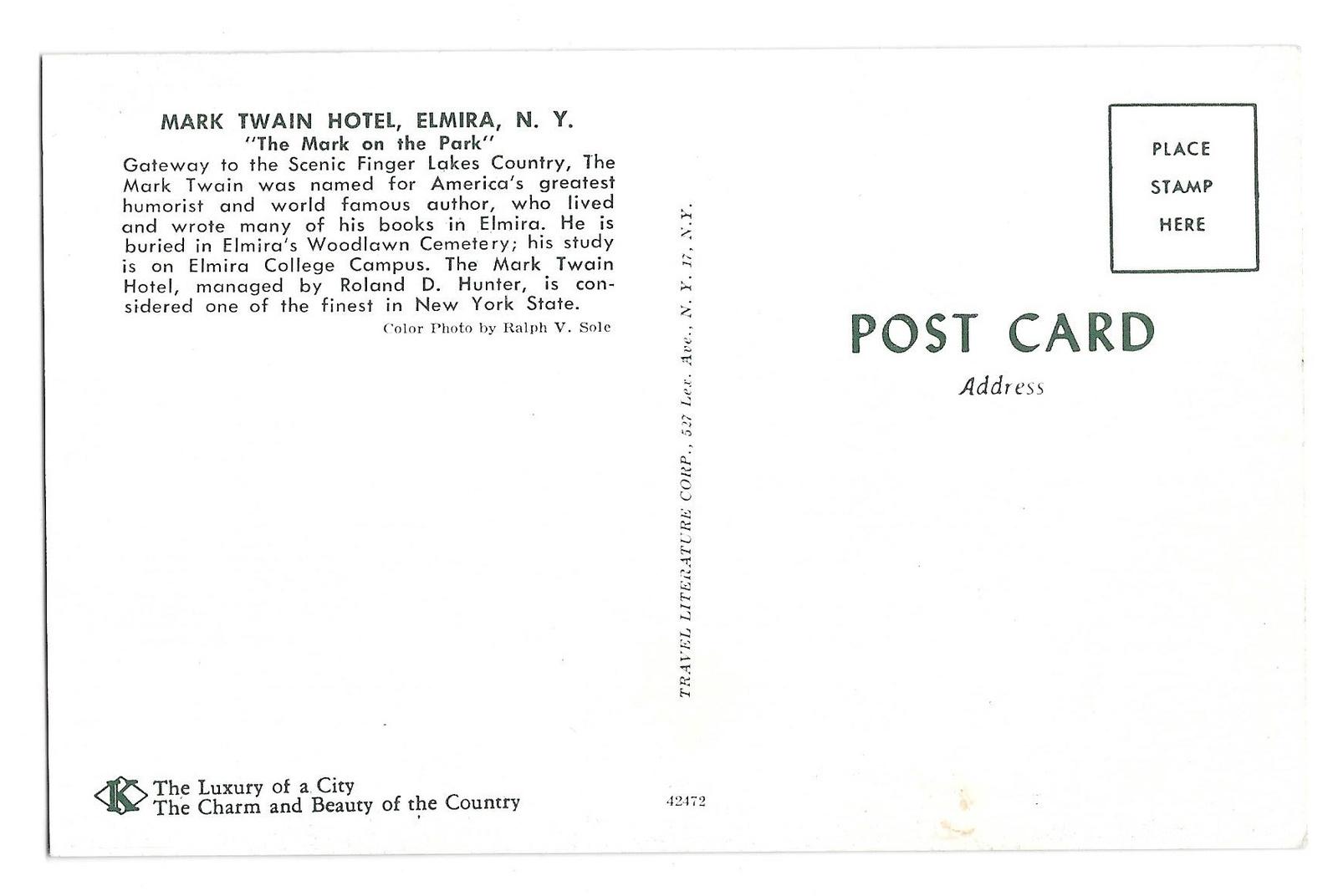 Mark Twain Hotel Elmira NY Vintage Postcard