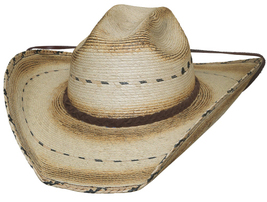 Bullhide Muggin 15X Mexican Palm Leaf Straw Cowboy Hat Maverick Crown Natural - £51.81 GBP