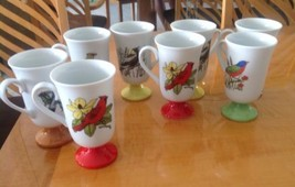 VTG Mid Century Modern Porcelain Bird Tall Cups Set of 8 Fred Robert's C... - £97.31 GBP