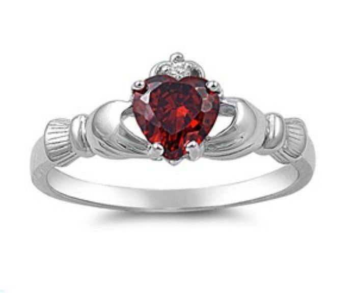 Sterling Silver Claddagh ring size 8 CZ Heart Crown Garnet Red Irish New 925 r06