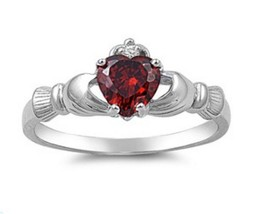 Sterling Silver Claddagh ring size 8 CZ Heart Crown Garnet Red Irish New 925 r06 - $12.10