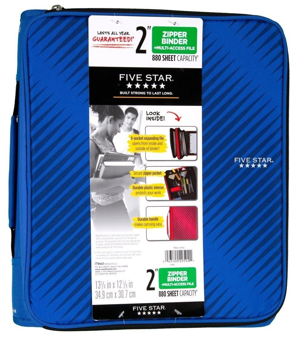 Zippered Binder Multi Access File 2-Inch Capacity 6 Pocket Expanding Files
