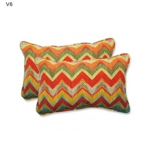 2 Multicolor Accent Pillows Home Fashions Indoor Outdoor ChevronThrow Cushions