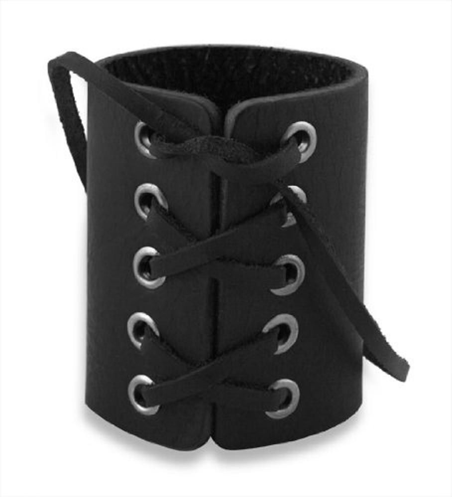 Gothic Cuff Bracelet Gift Biker Punk Style Bangle Lace Leather No Stone NEW