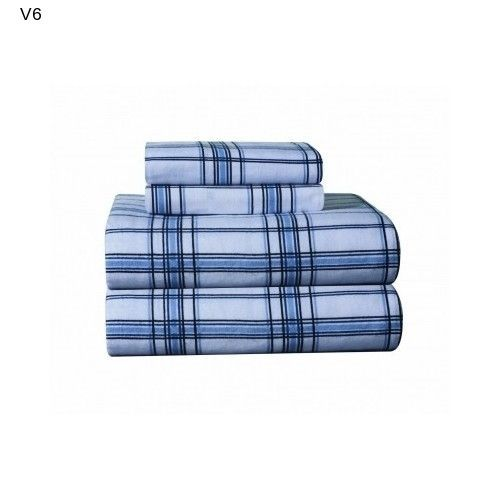 Flannel Bed Sheets Total Full Bed Sheet Set Cozy Contemporary Sleep NEW