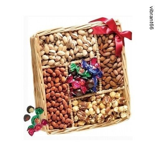 Broadway Basketeers Sweet and Savory Nut Gift Basket Health Treats Candy NEW