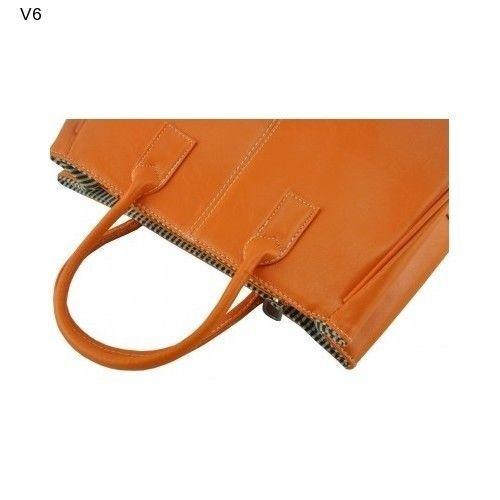Ginkgo Fashion Polyeurthane Leather Handbag Orange Clutch Tote Laptop PicnicNEW