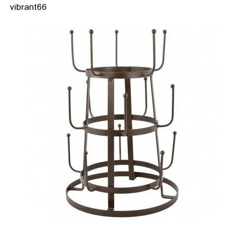 MyGift Glass Drying Rack Coffee Kitchen Mugs 3 Tier Metal Cup Tree NEW