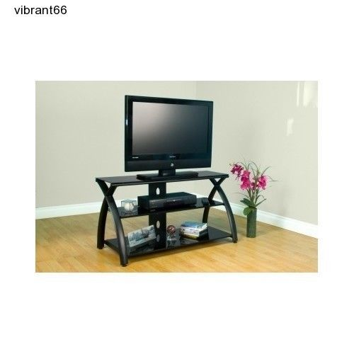 Calico Black TV Stand Flat Screen 42 Inch Television Entertainment Caddy Center