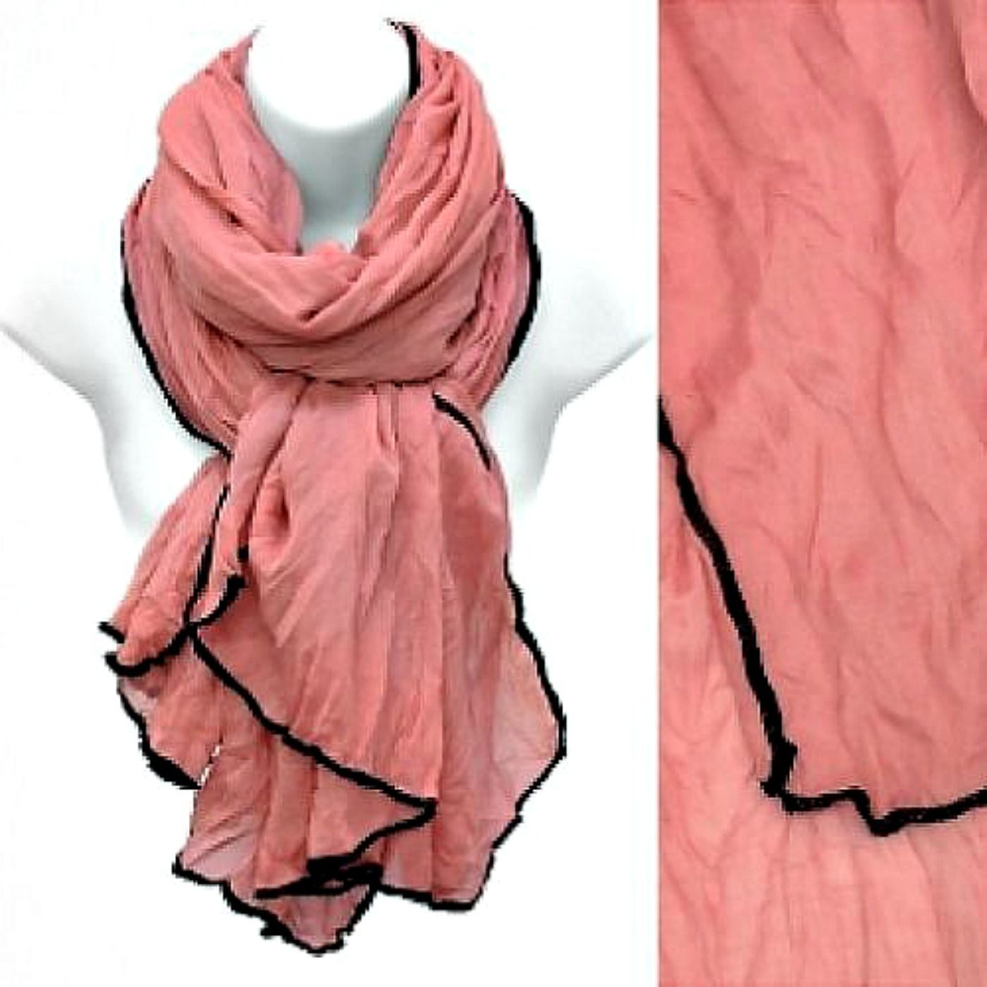 Sarong Scarf Pink Crinkle Fabric Cover-Up Black Stitched Edge Wrap Cruise
