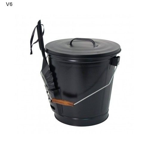 Panacea Chimney Ash Bucket Fireplace Shovel Scoop Bin Living Room Black NEW