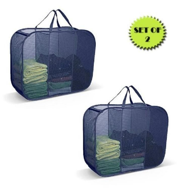 Pop Up Laundry Room Sorter 3 Compartment Clothes Hamper Easy Carry Handles NEW