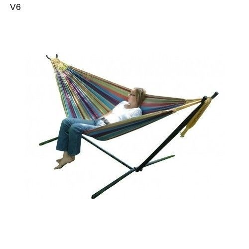 Vivere Double Size Hammock Patio Outdoor Camp Picnic Multi-Color Garden Swing