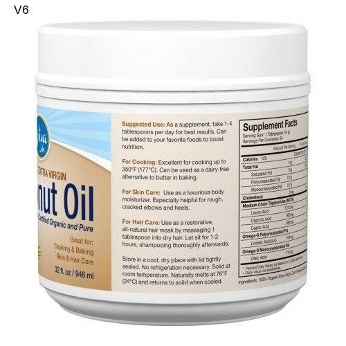 Viva Labs Coconut Oil 32 Oz. Extra Virgin Oil Health Beauty Skin Bath Cook NEW