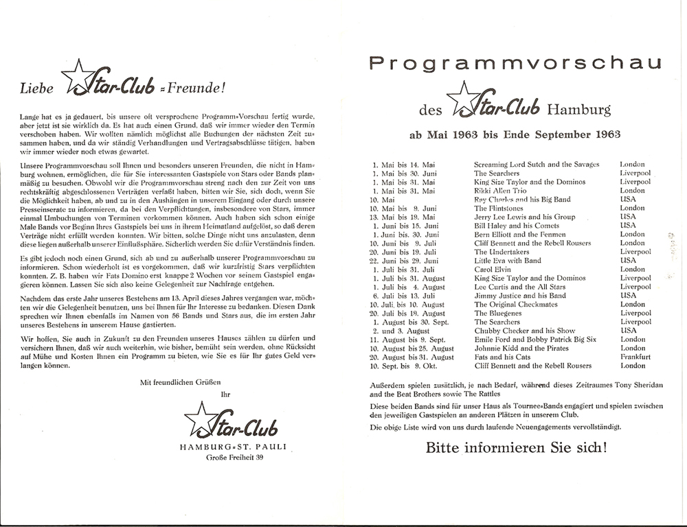 Star Club Concert Handbill Flyer Promo w/ Little Richard Bill Haley