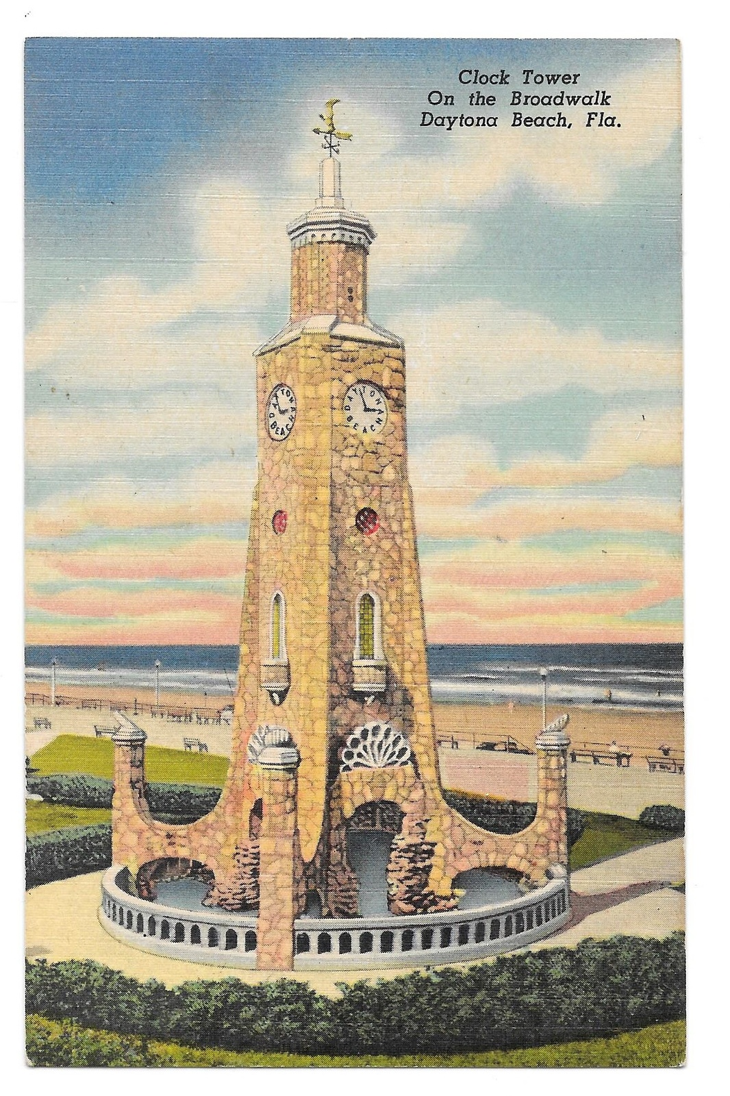 99 br 1925 1bx fl daytona beach clock tower linen