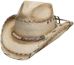 Bullhide Running Iron 15X Mexican Palm Leaf Cowboy Hat Braided Brim Natural - $55.00