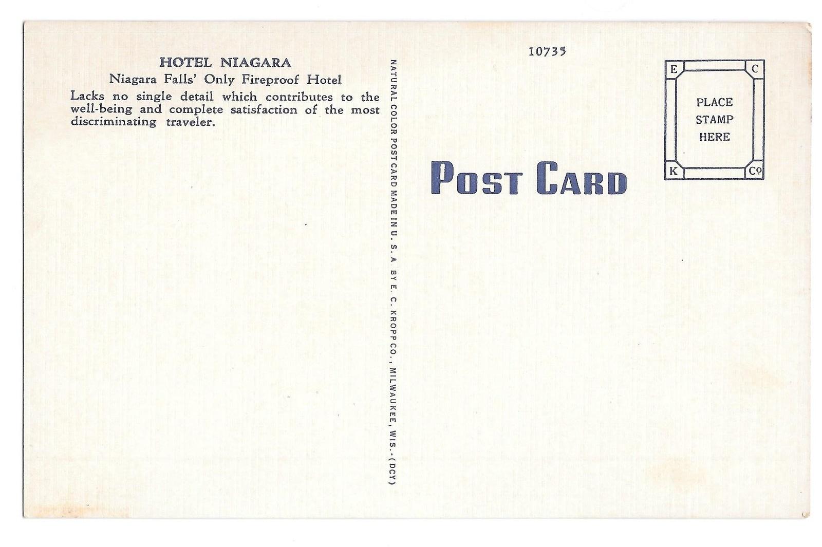 Niagara Falls NY Hotel Niagara Vintage Kropp Linen Postcard