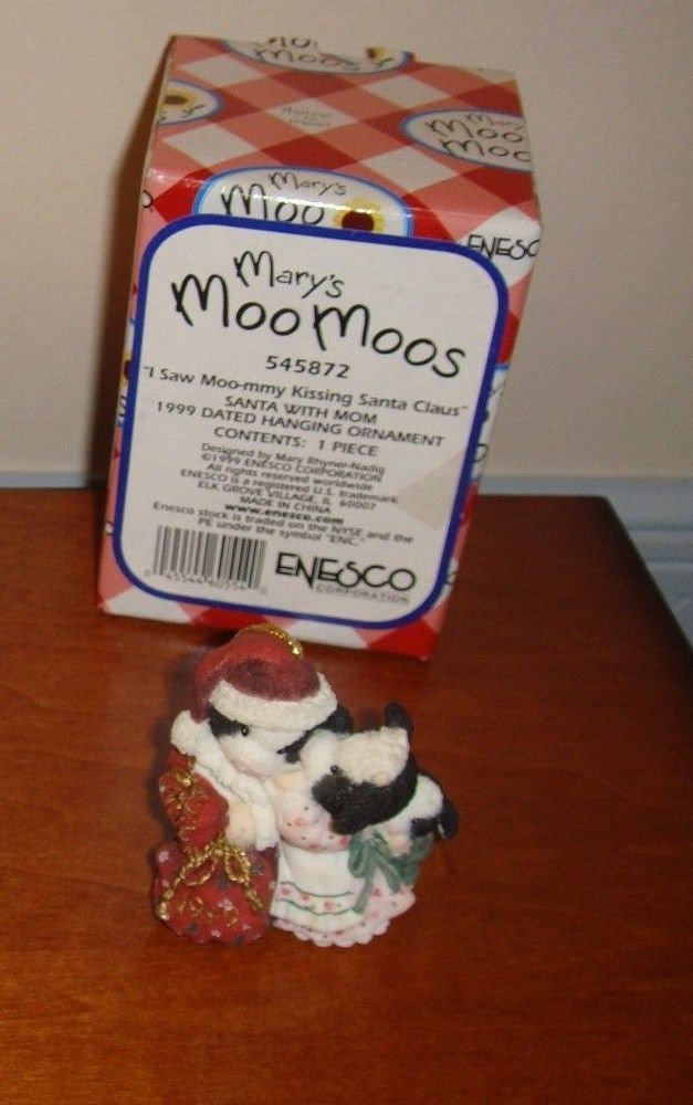 Mary's Moo Moos I Saw Moo-mmy Kissing Santa Claus Dated 1999 Ornament