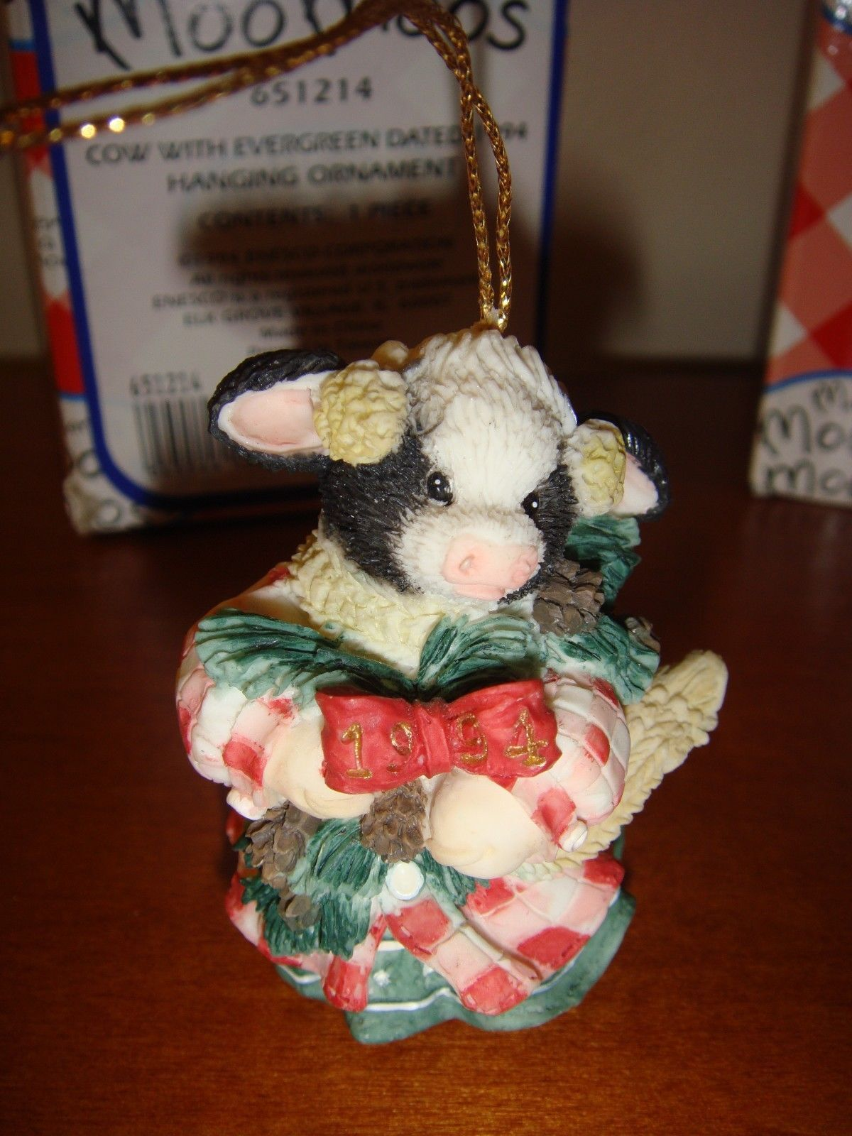 Mary's Moo Moos Cow With Evergreen Dated 1994 Ornament, 651214