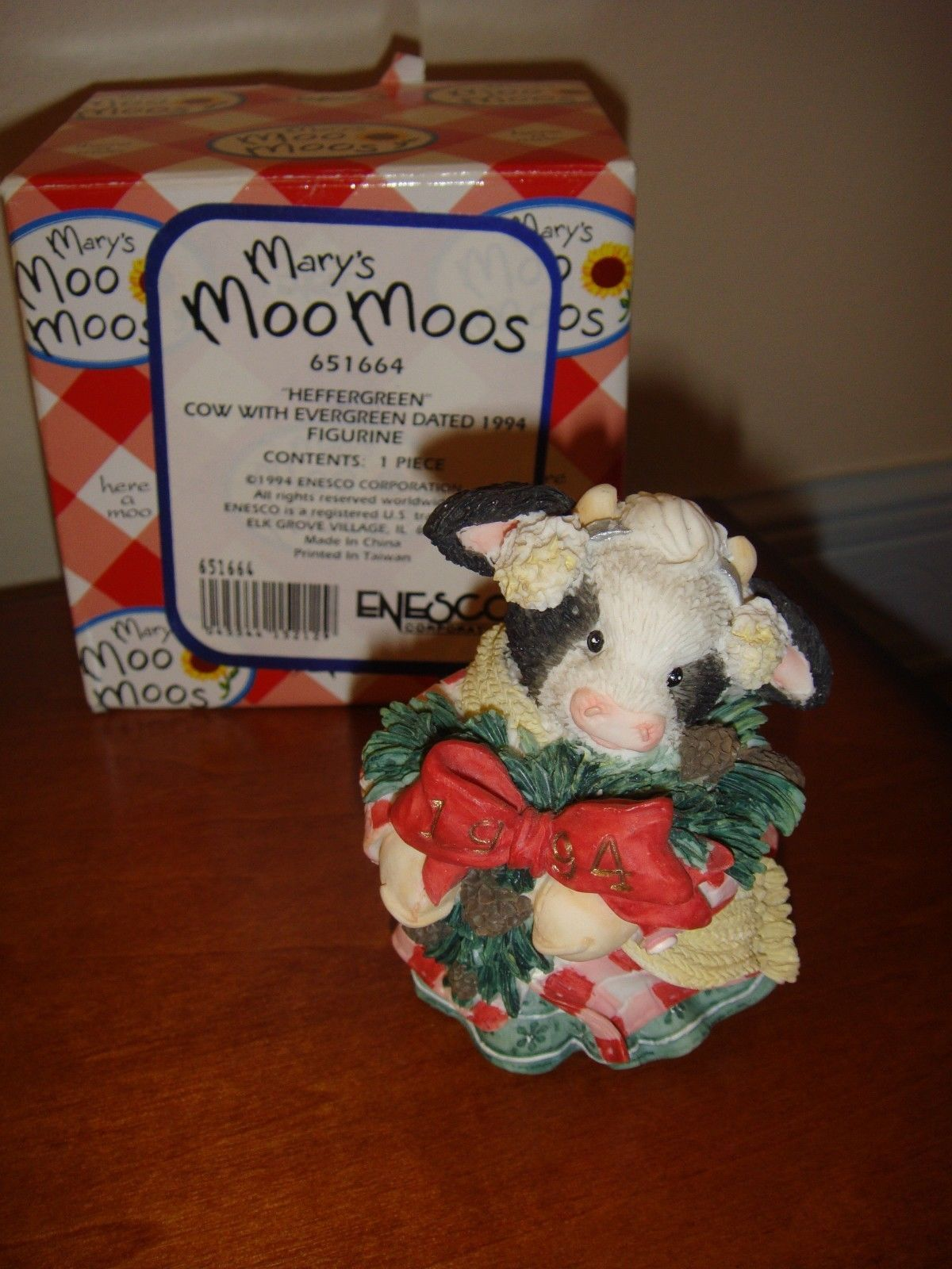 Mary's Moo Moos Heffergreen Cow With Evergreen Dated 1994 Figurine, 651664