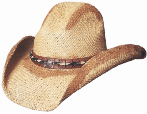 Bullhide Heritage Panama Straw Cowboy Hat Gus Crown Painted Concho Natural