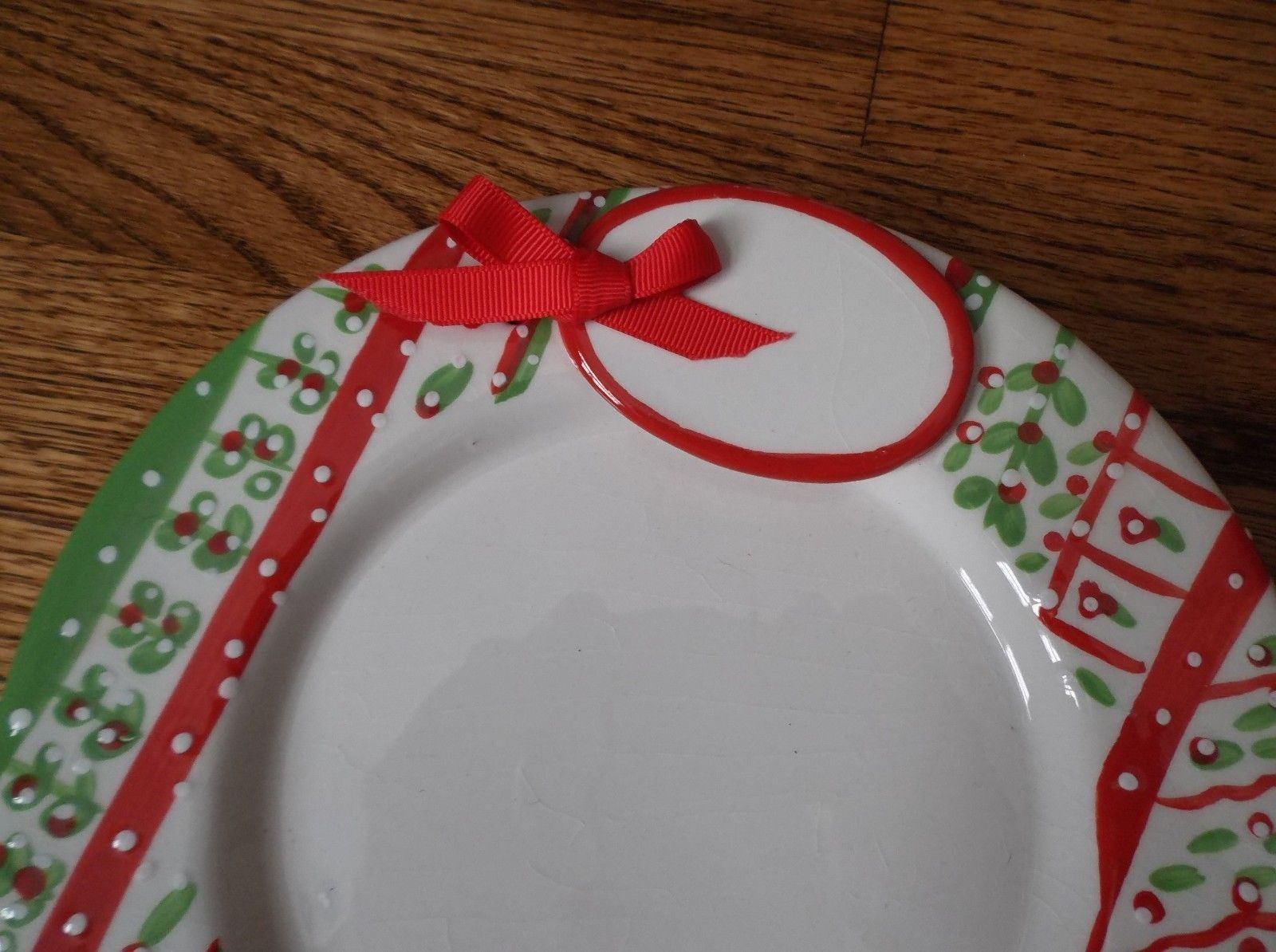 Two's Company Hand painted Christmas Plate w/Attached Tag Heavy Stoneware 8 1/2""