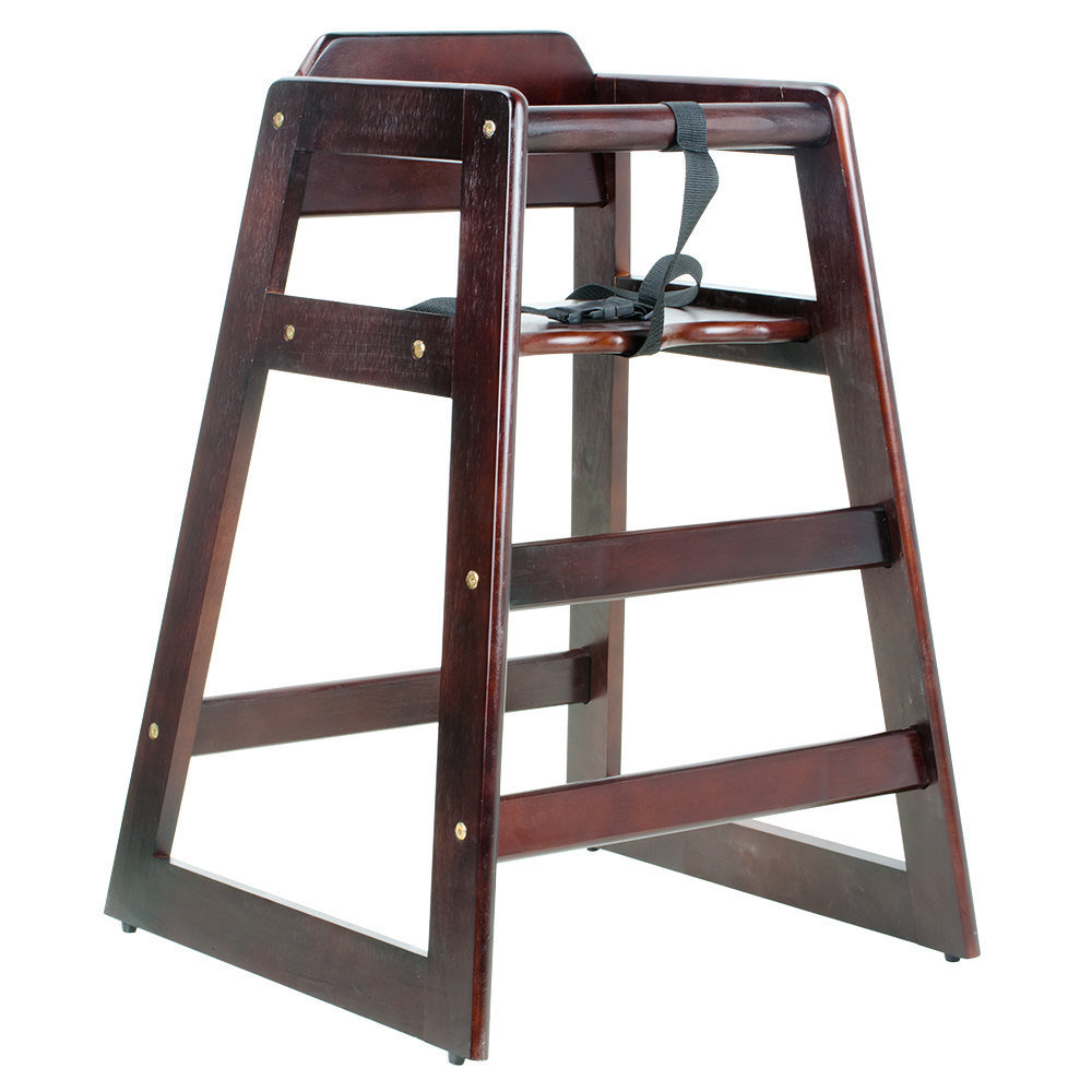 Stacking restaurant wood high chair with dark finish