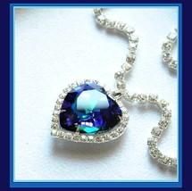 Stunning Crystal Heart Ocean Blue Austrian Swarovski Rhinestone Circled Necklace