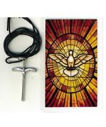 Corded Necklace with Crucifix - Espiritu Santo in Spanish - LH55.0498 - $6.99
