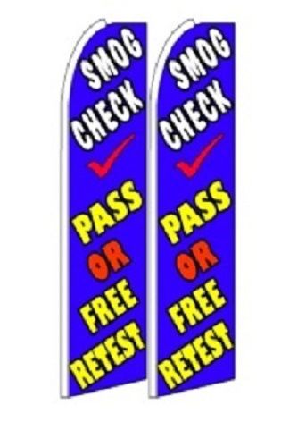 Smog Check pass or free Retest  King Size Polyester Swooper Flag pk of 2