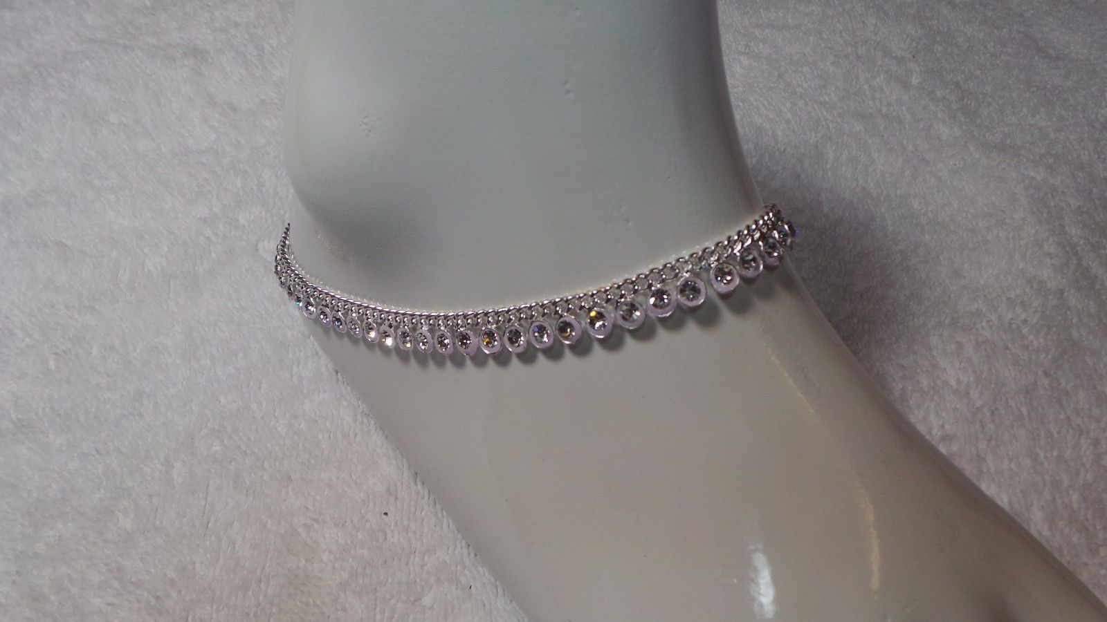 Silver Tone Anklet  set Fashion Jewelry 10 inch ( one pair)