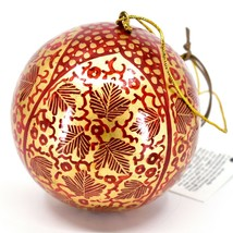 Asha Handicrafts Painted Papier-Mâché Red Gold Chinar Leaves Christmas Ornament image 2