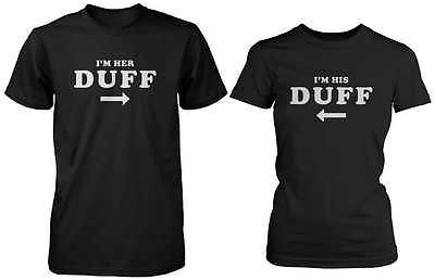Cute Matching Couple Shirts in Black - I'm Her Duff, I'm His Duff
