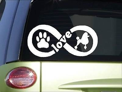 Poodle Infinity sticker *H386* 4 x 8.5  inch vinyl dog love decal