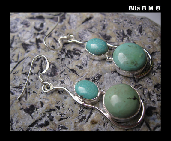 TURQUOISE Dangling Vintage Earrings in STERLING Silver - 2 inches long