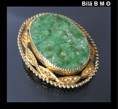 Vintage CATAMORE 12K GOLD-FILLED Green JADE Brooch Pin - $45.00