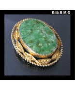 Vintage CATAMORE 12K GOLD-FILLED Green JADE Brooch Pin - €39,67 EUR