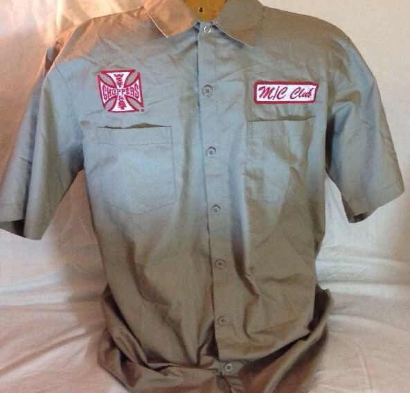 jesse james west coast choppers Iron Cross Work Wear Brown Collar Shirts  Size M