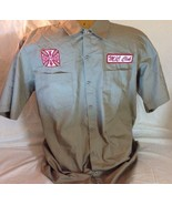 jesse james west coast choppers Iron Cross Work Wear Brown Collar Shirts... - $34.64