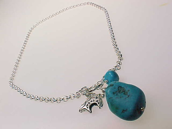 Italian Sterling Necklace with Genuine TURQUOISE Nuggets and Sterling BEAR Charm