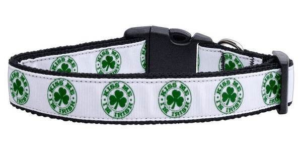 KISS ME I'M IRISH Dog Collar * St Patricks Pattys Day Shamrock Ireland Pet Puppy