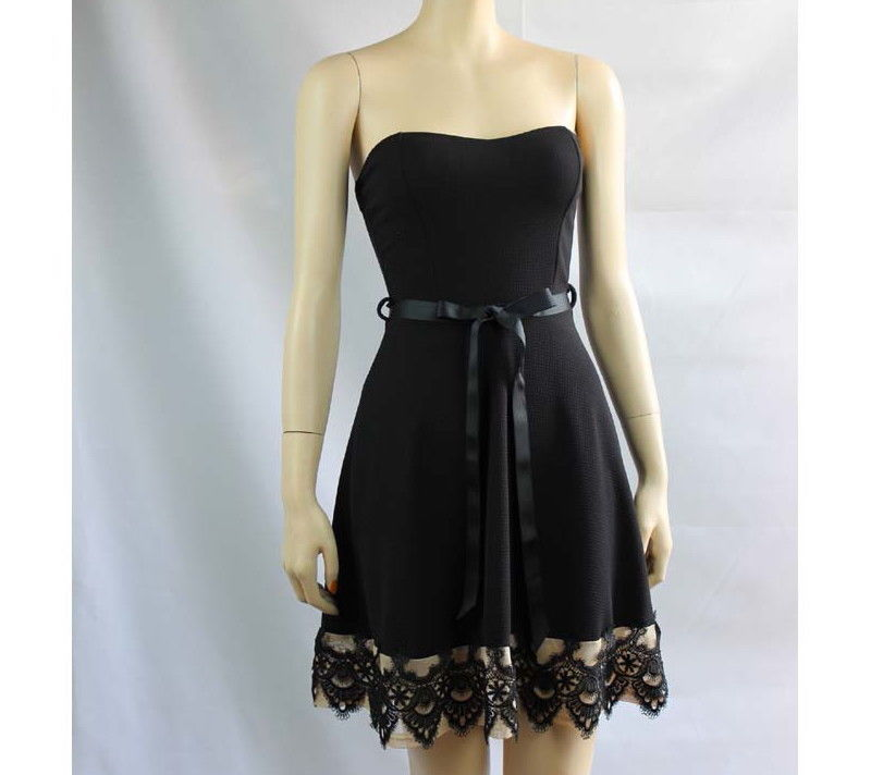 NWT  A line Black Skirt Tied Ribbon Embroidered Hem Silky Mini Tube Dress Small