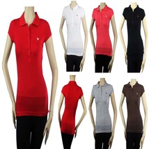 Basic 4 Button Short Sleeve Polo T-SHIRT  w/ Collar,Cotton Junior Casual... - $9.99