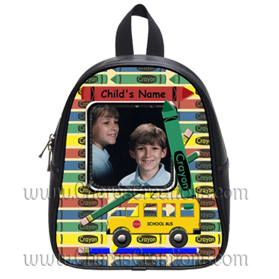 Crayon Personalized 100% Genuine Leather Double Zippered School Backpack 3 Sizes
