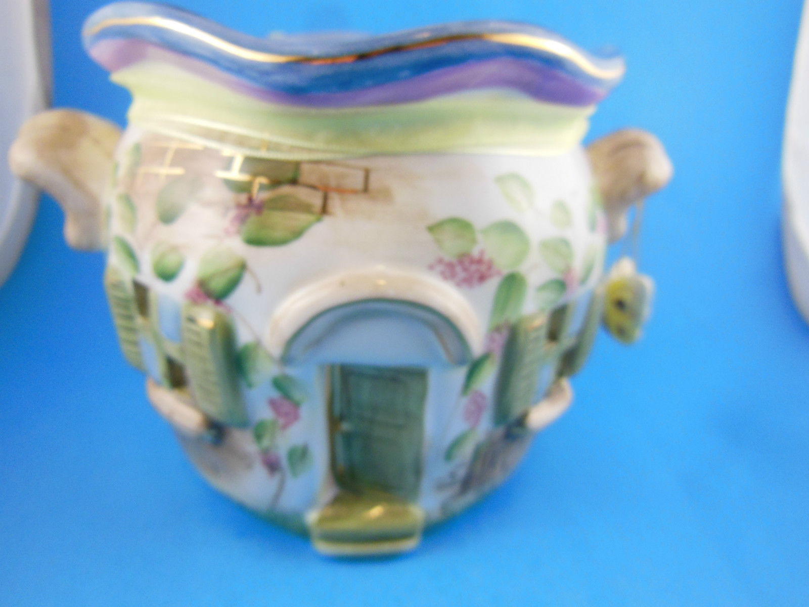 "Home Interiors Tea Light Candle Holder House Very Pretty 4.5"" wide x 6.5"" tall"