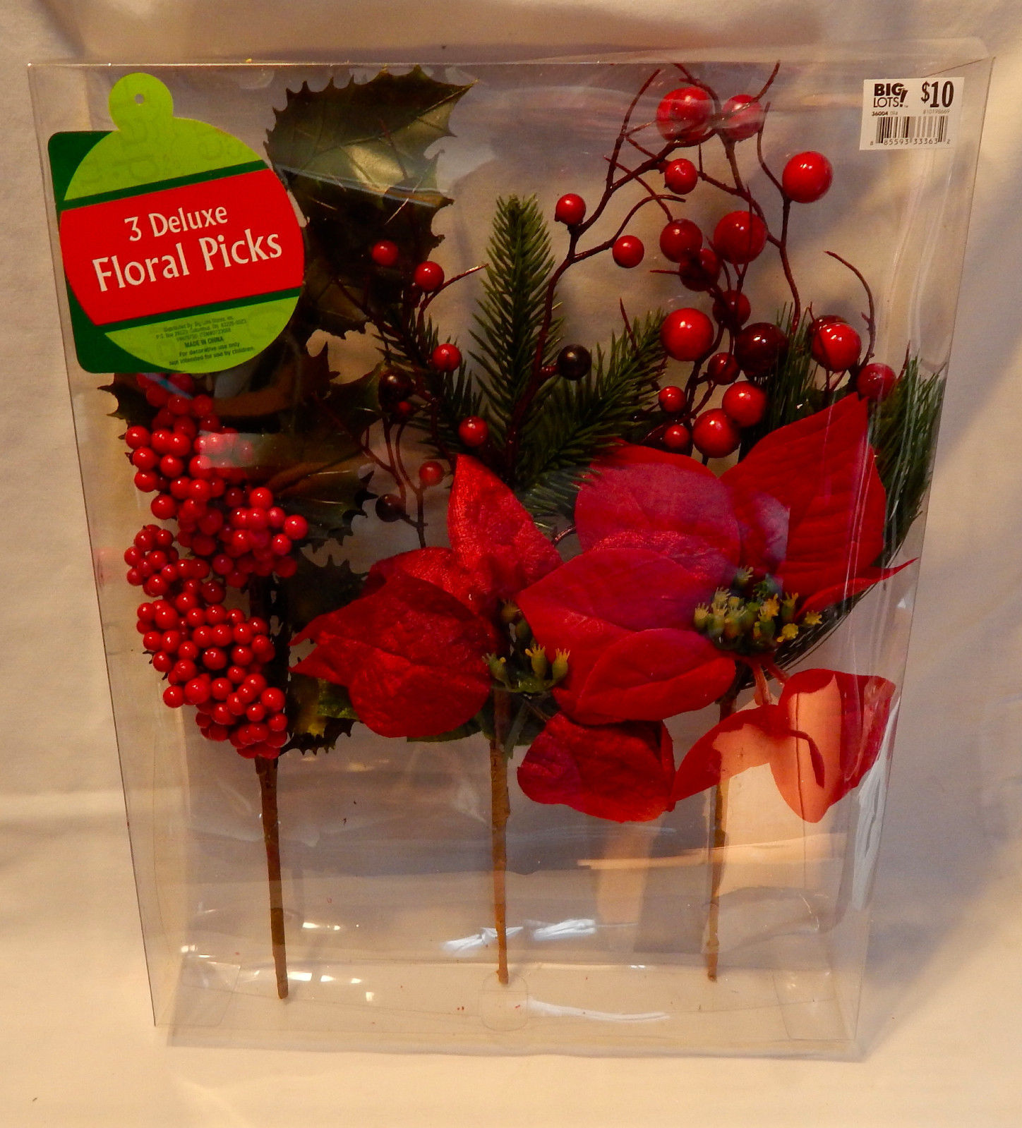 Deluxe Floral Picks Fall Decor Red Flowers All Holidays 3ea Berries & Leaves 33S
