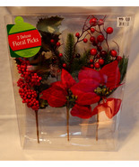 Deluxe Floral Picks Fall Decor Red Flowers All Holidays 3ea Berries & Le... - $7.89