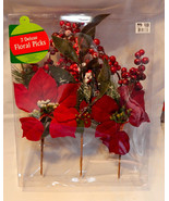 Deluxe Floral Picks Fall Decor Red Flowers All Holidays 3ea Berries & Sn... - $7.89